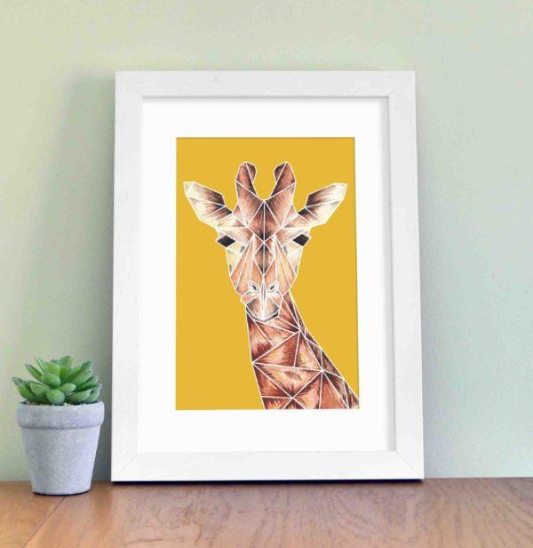 Giraffe with yellow background