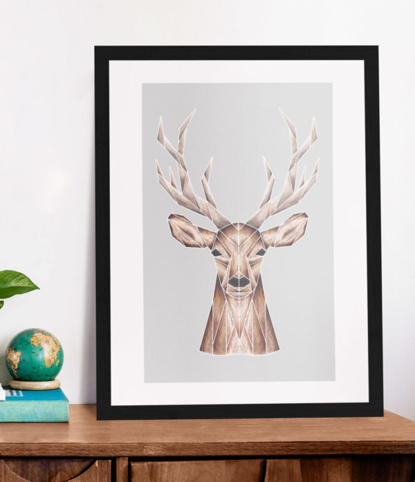 Stag with Grey background