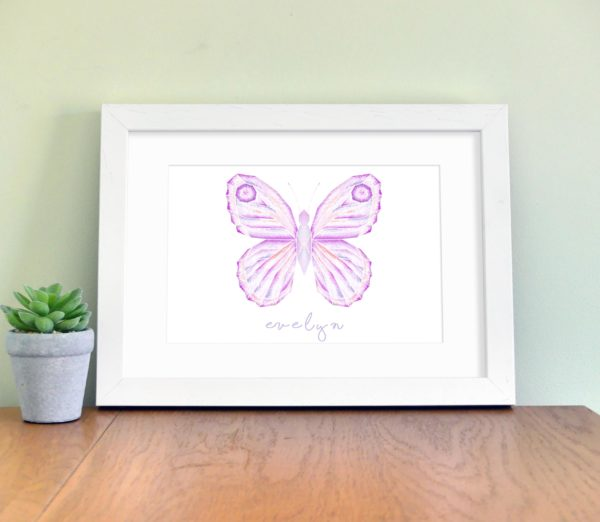 Pink butterfly Personalised