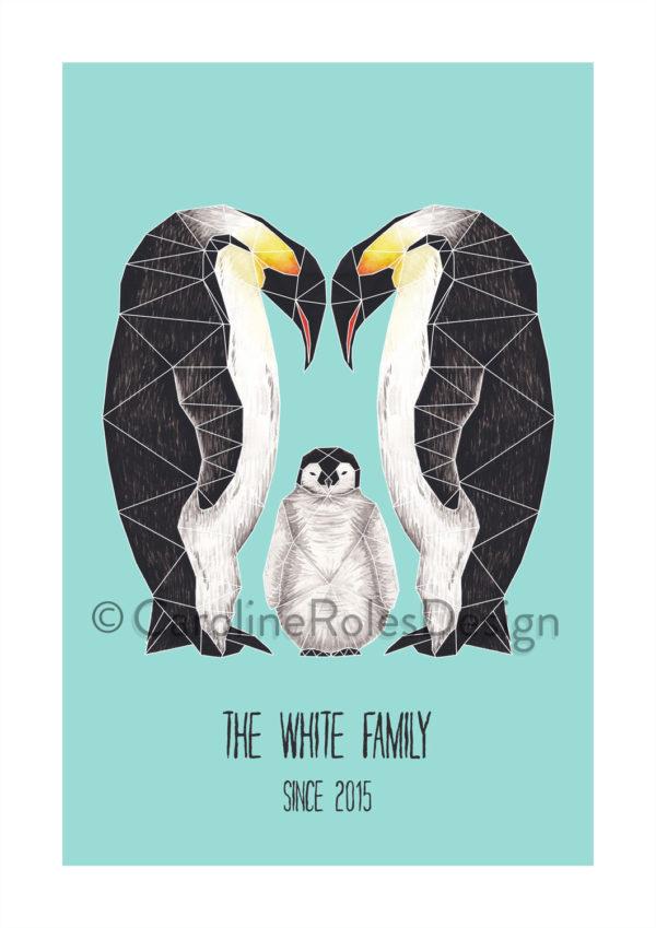 Origami Penguin family