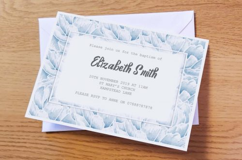Pale Blue Christening Invitation