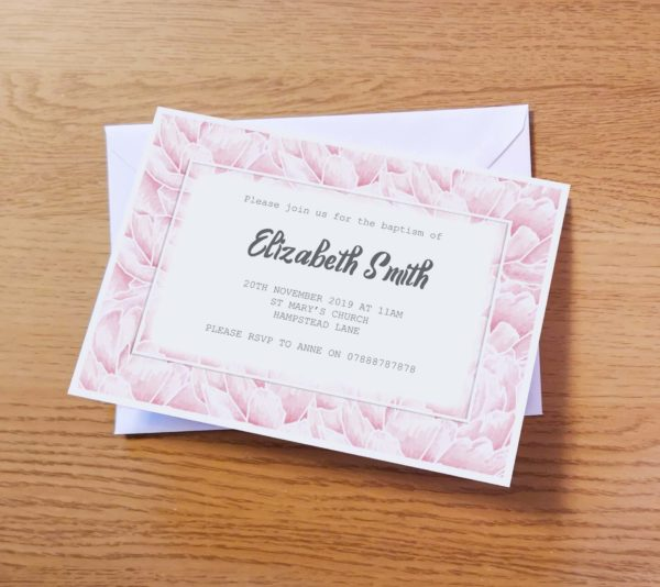 Pale Pink Christening Invitation