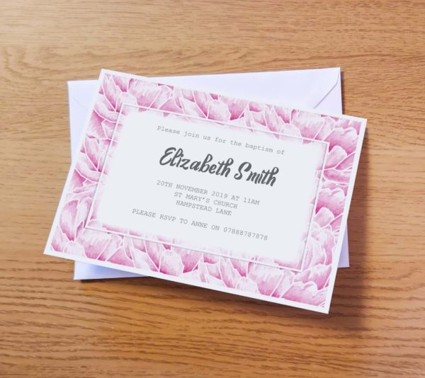 Pink Christening Invitation
