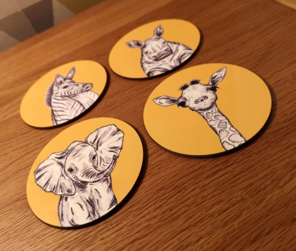 Yellow Animals Coasters