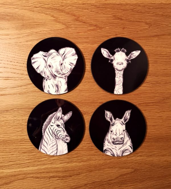 Black Animals Coasters