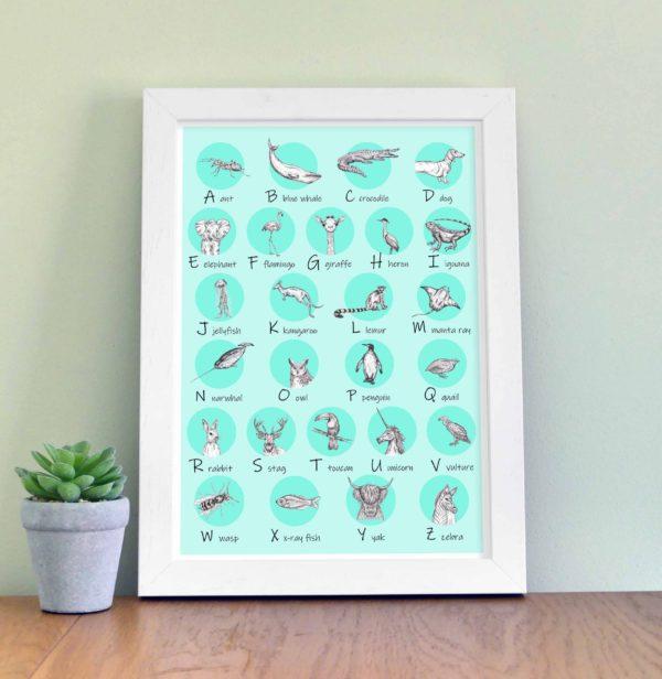 Animal Alphabet - aqua