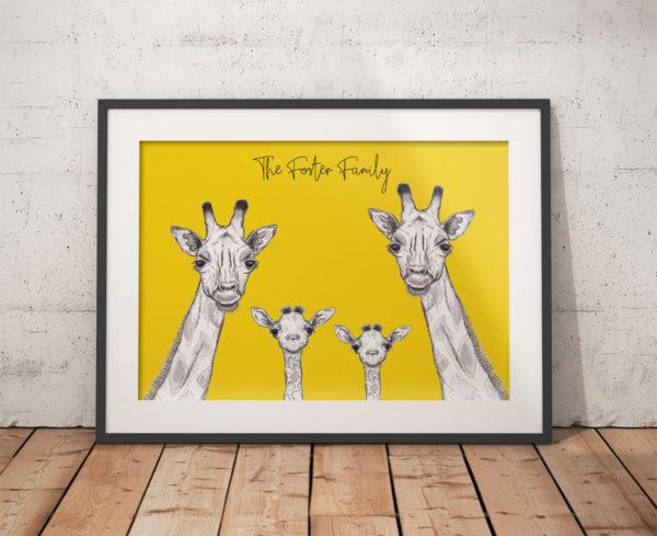 Giraffe family - yellow