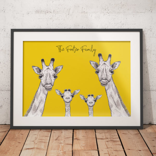 Giraffe family - yellow