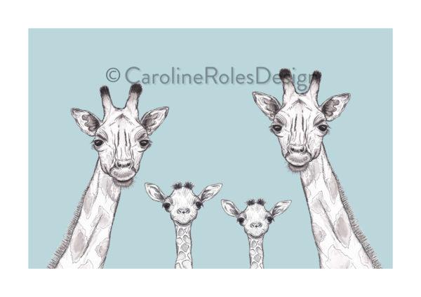 Giraffe family - blue