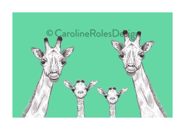 Giraffe family - green