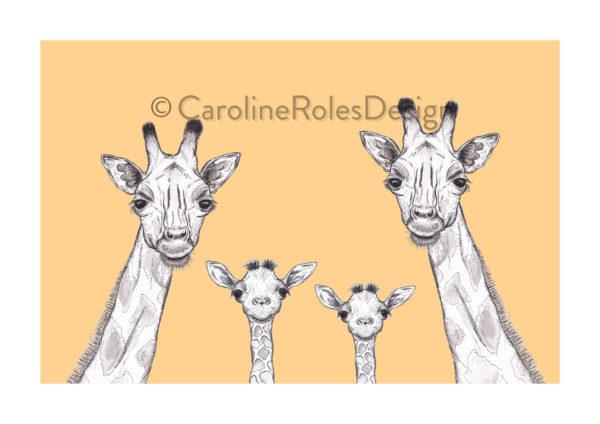 Giraffe family - orange