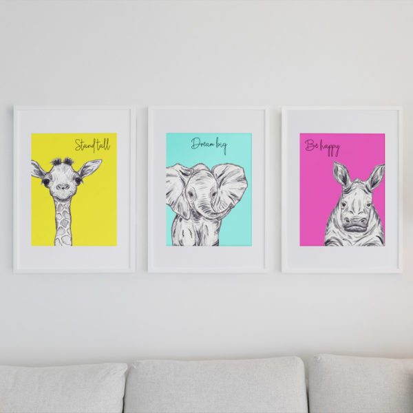 Inspirational quote animal prints