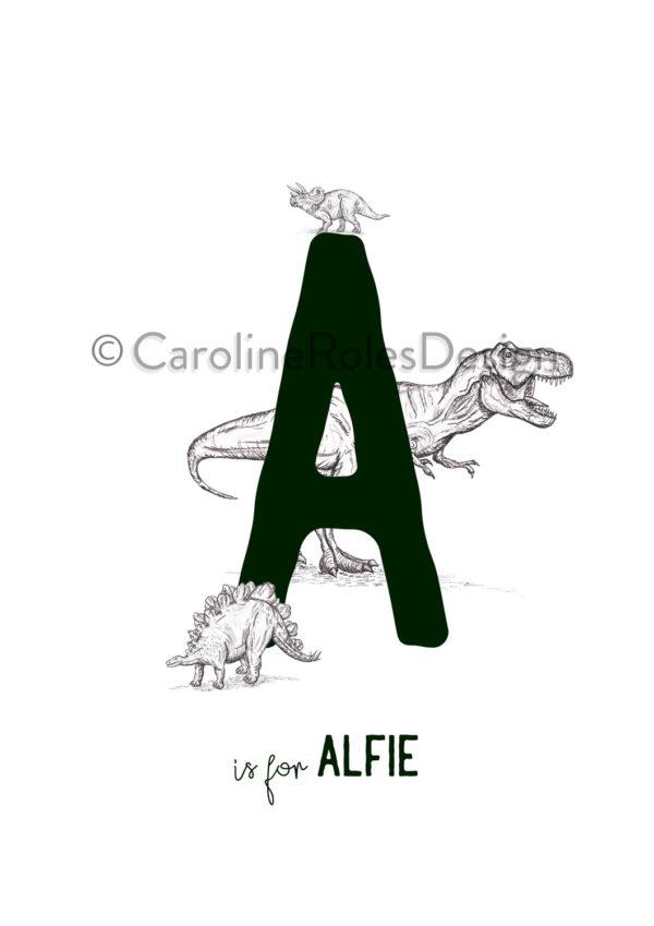 Dino letter art print