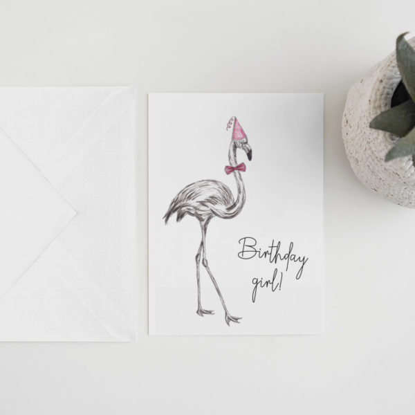 Flamingo party animal card