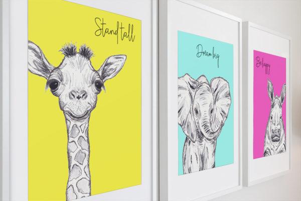 Inspirational quote animal prints