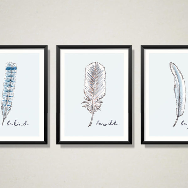 Inspirational quote Feather art prints
