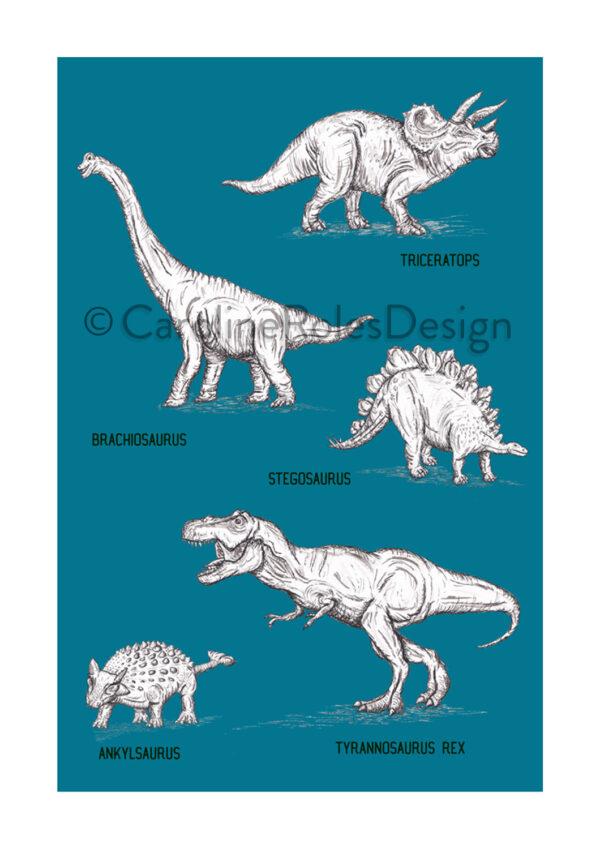 5 Dinos - blue