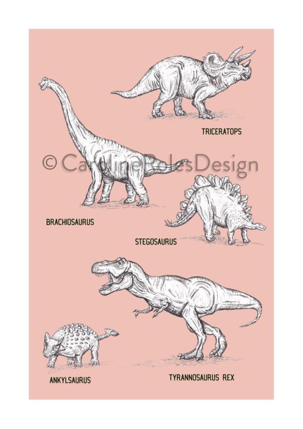 5 Dinos - pink