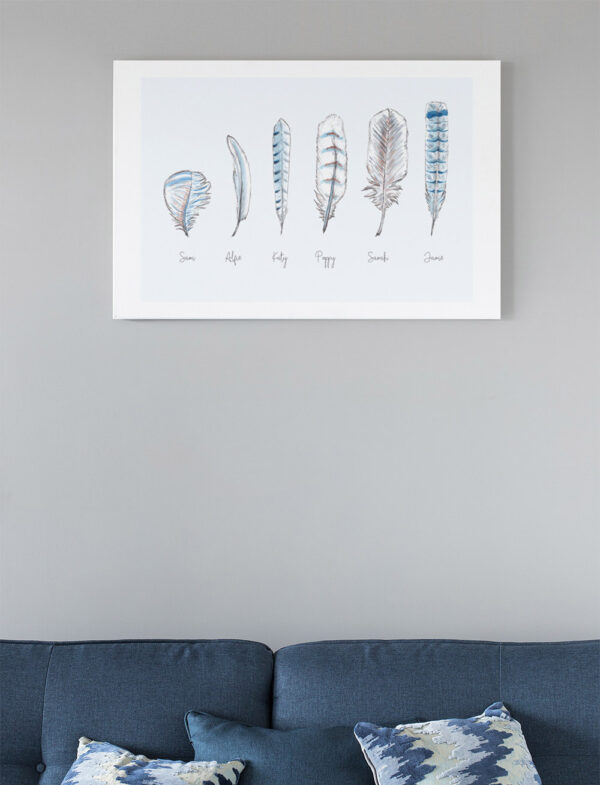 Personalised feather print - pale blue
