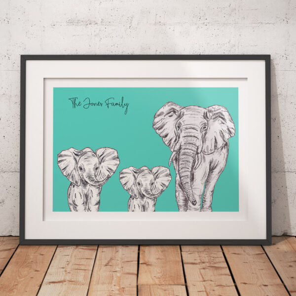 Elephant family - Teal