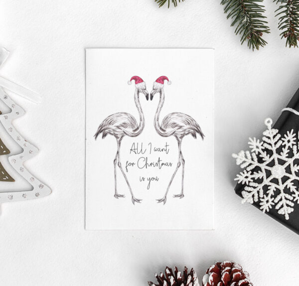 Pair of Flamingos Christmas card