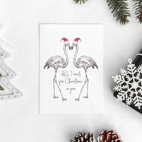 Pair of Flamingos Christmas card