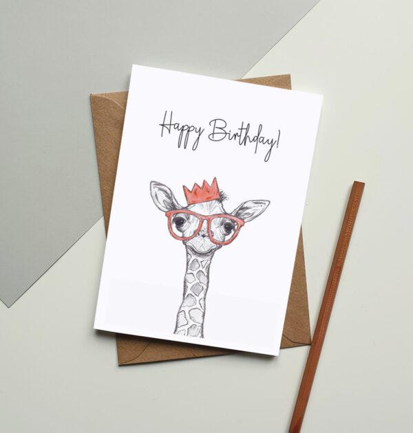 Giraffe party greeting card