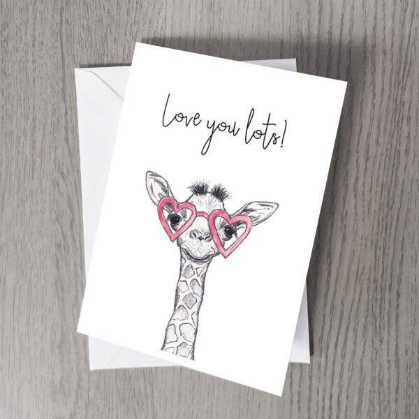Giraffe love you lots card