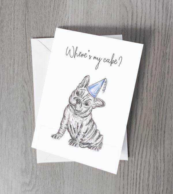 Bulldog party greeting card
