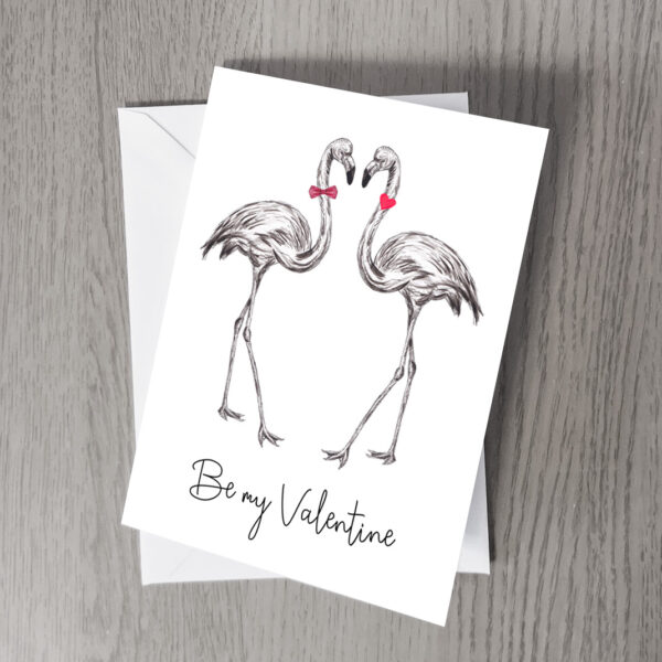 Flamingo Be my Valentine card