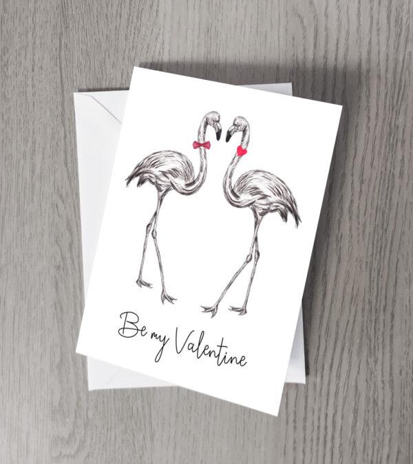Flamingo Be my Valentine card
