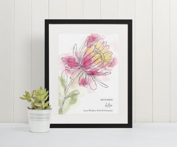 Aster single stem birth flower print