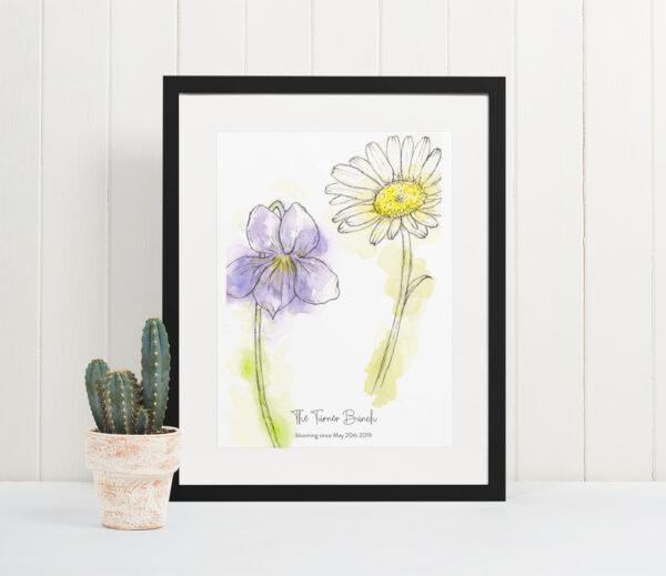 Couples birth flowers art print