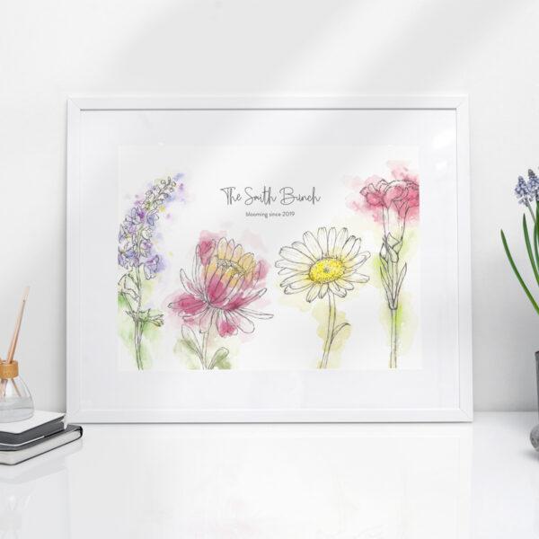 Family birth flowers art print
