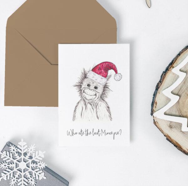 Orangutan Christmas card